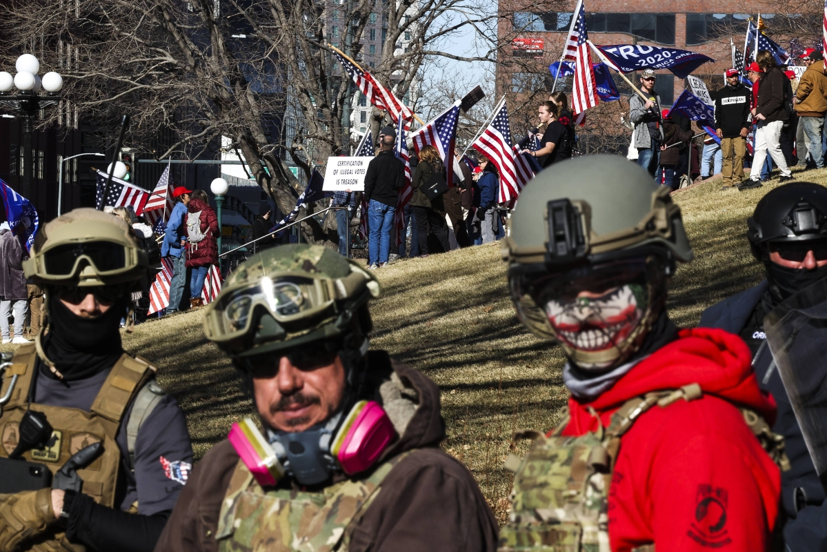 Donald Trump supporters protest the election outside the Colorado State Capitol on January 6, 2021 in Denver, Colorado.