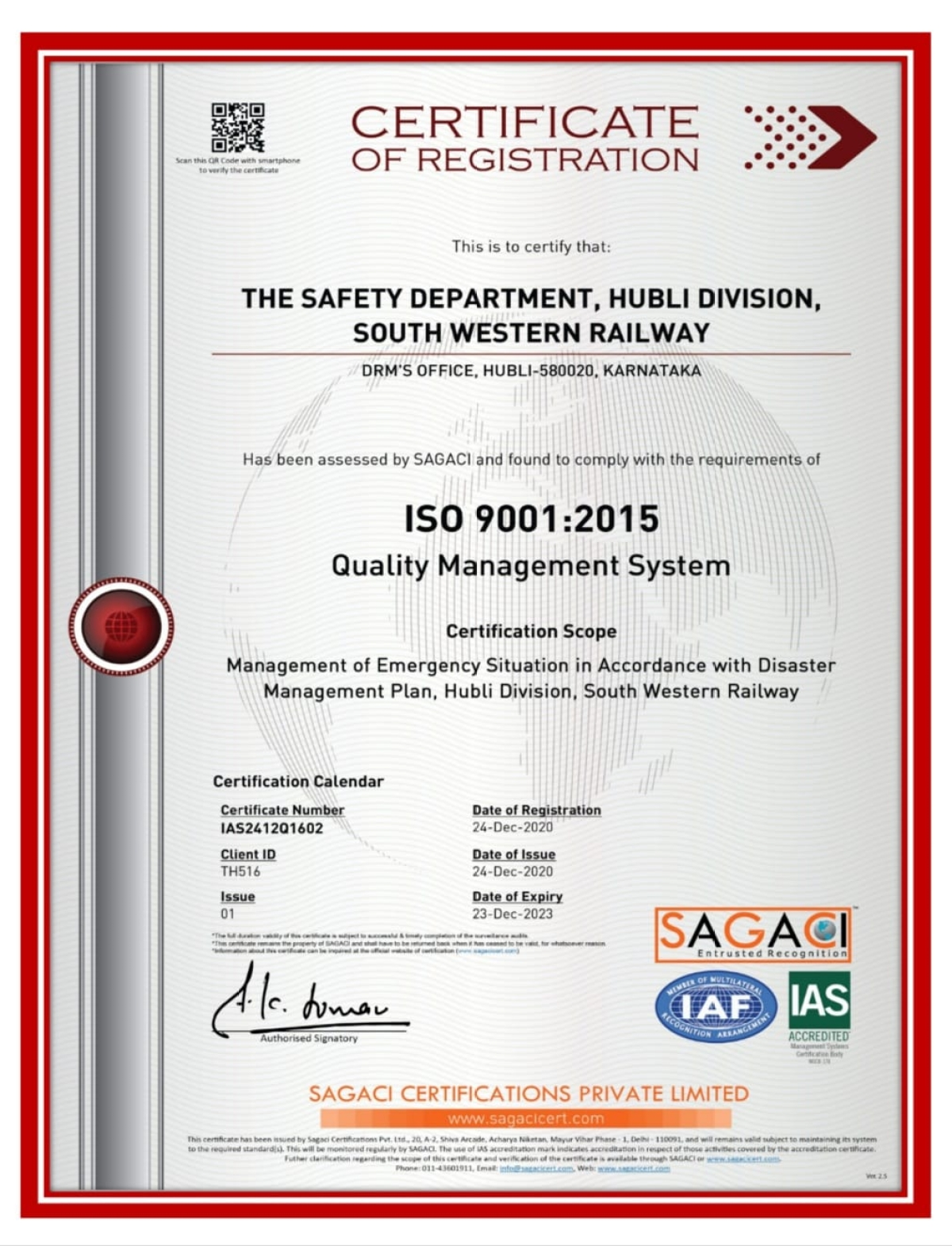 Hubballi Division first in South Western Railway to get ISO Certification for safety