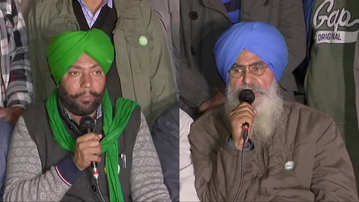 Farmers' leaders Manjeet Singh Rai (L) and Onkar Singh (R)