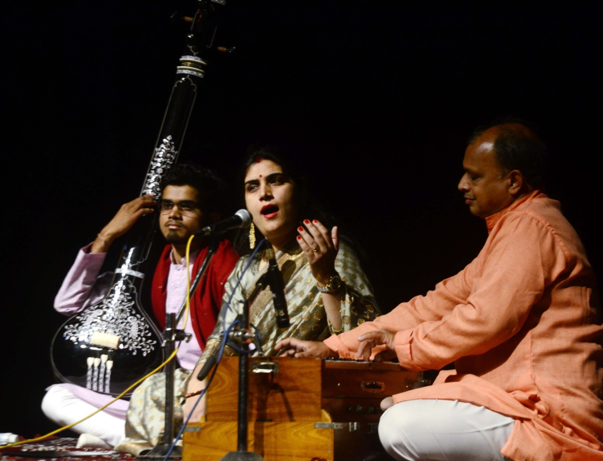 Divya Sharma Jagid presenting Khayal songs at  Ravindra Bhawan in the city on Sunday evening.