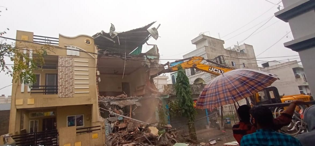 Encroachment removal in Panchavati Colony in Indore on Saturday