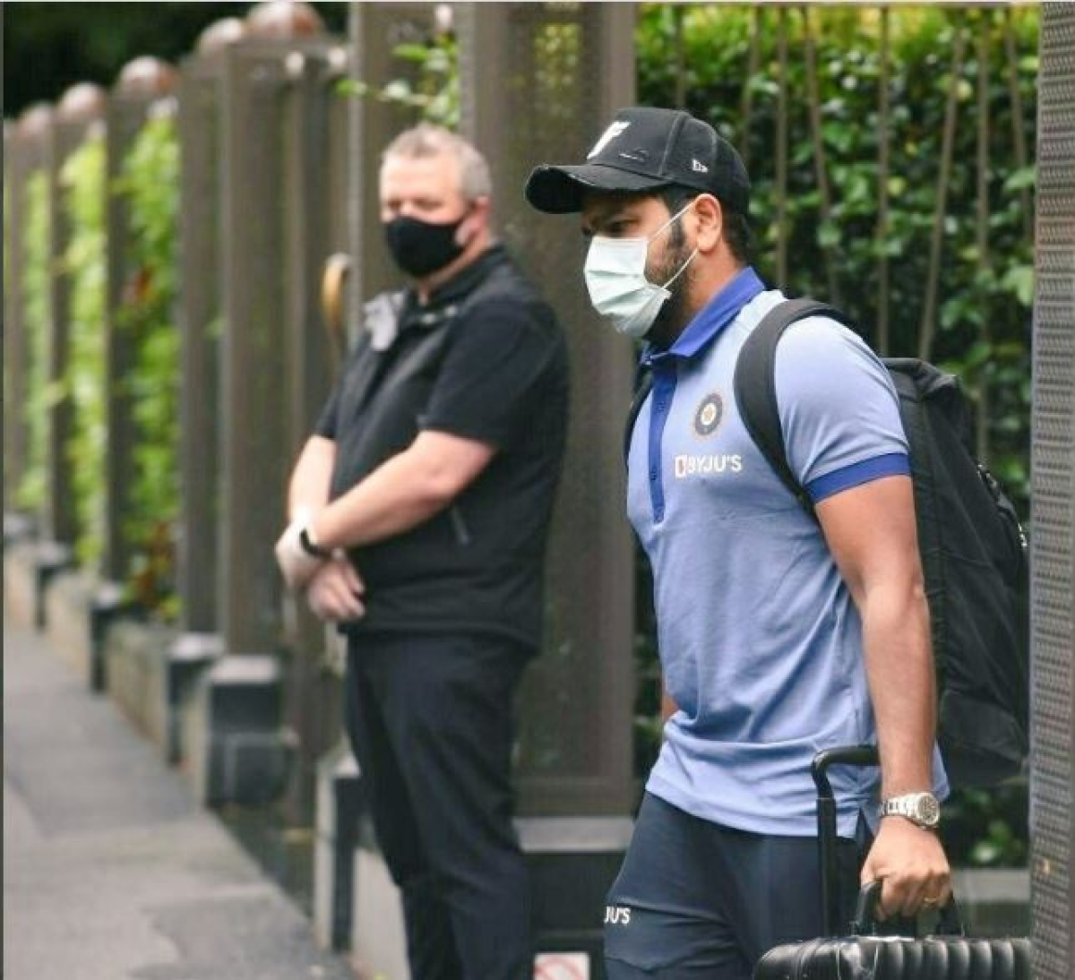 Rohit Sharma leaving the Melbourne hotel on Monday