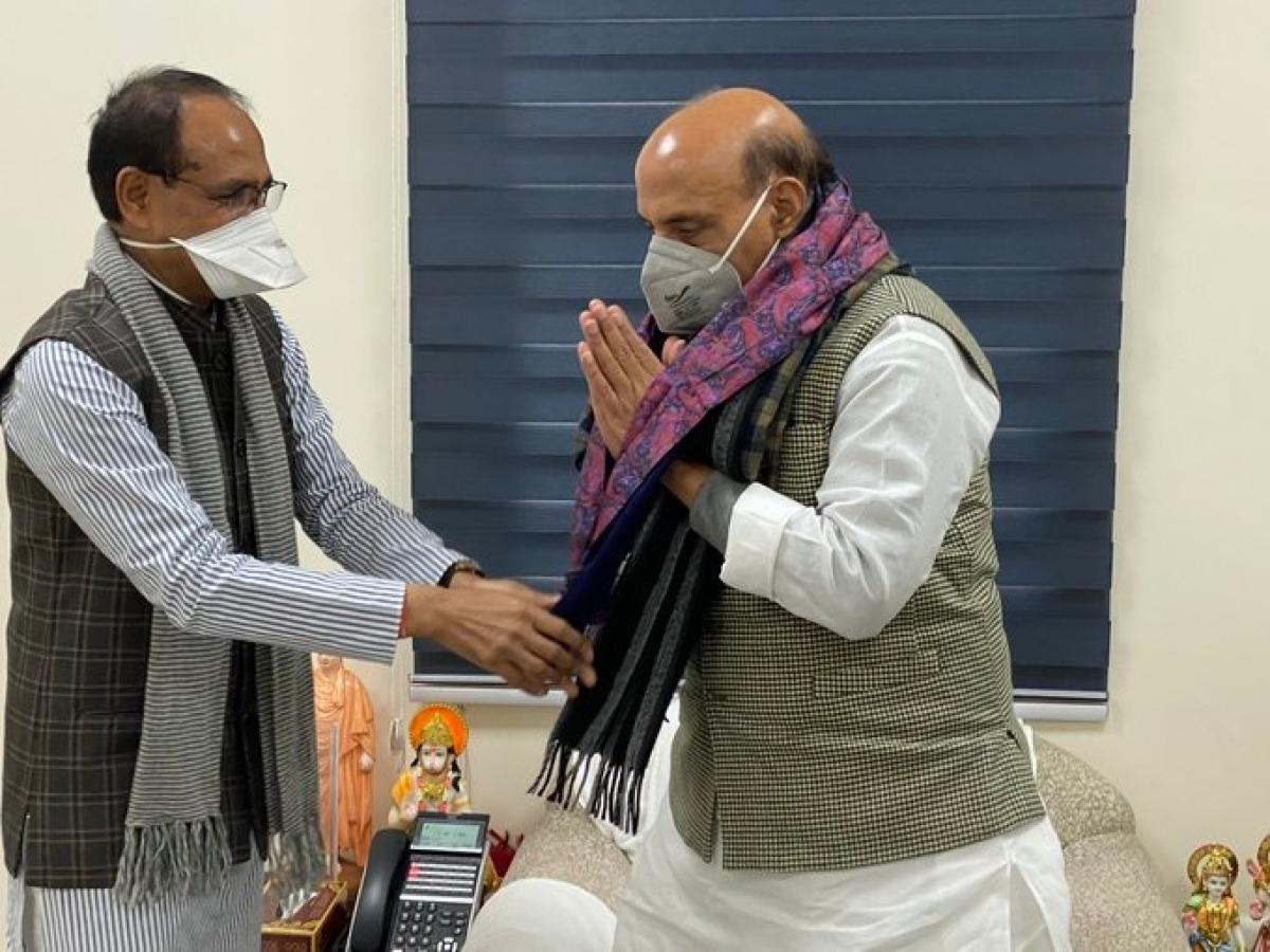 Madhya Pradesh Chief Minister Shivraj Singh Chouhan meet defence minister Rajnath Singh