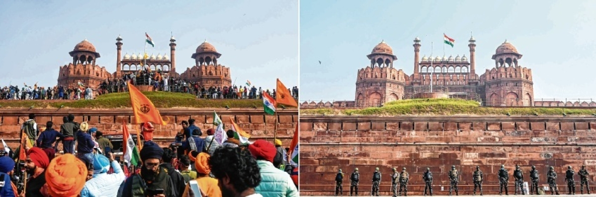 In a combination of pictures, farmers gather at Red Fort as they continue to protest against the Centre's farm laws on Tuesday (January 26) and (R) police stand guard at Red Fort in New Delhi on Wednesday.