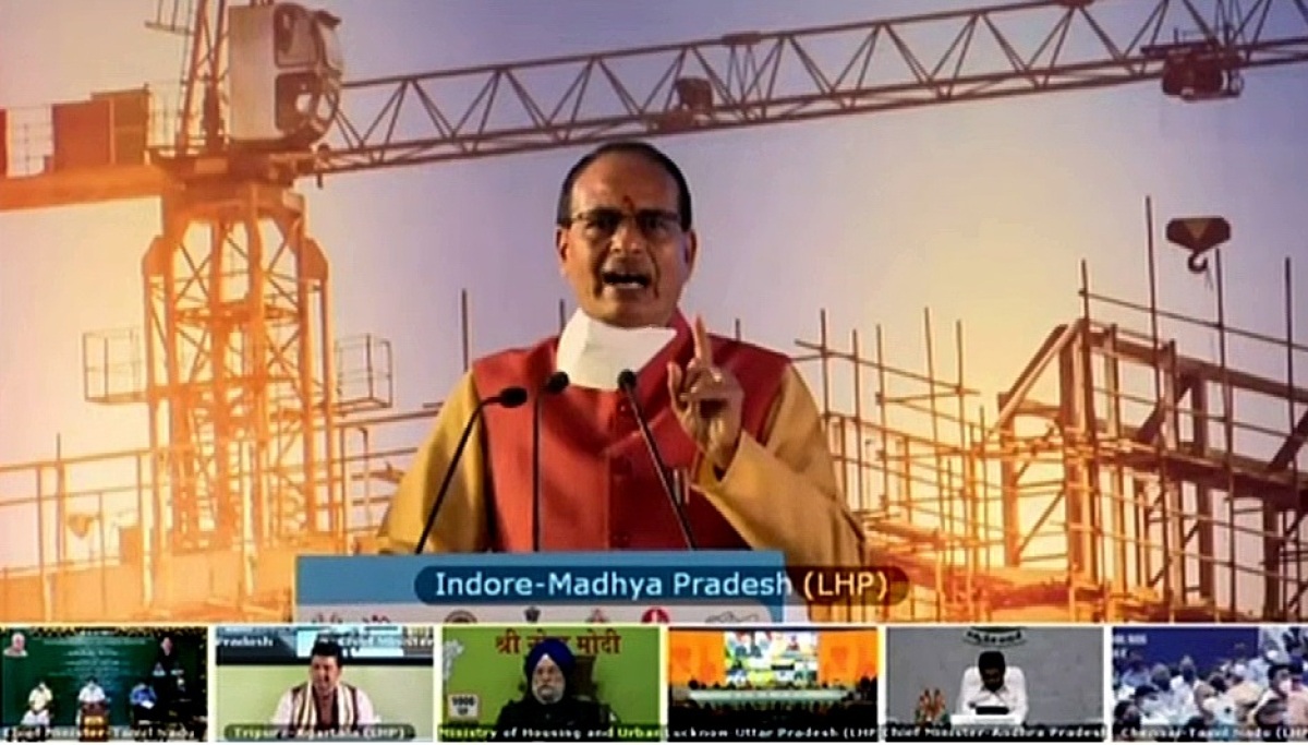 Madhya Pradesh Chief Minister Shivraj Singh Chouhan attends the foundation stone laying ceremony of Light House Projects across six states through video conferencing, in New Delhi.