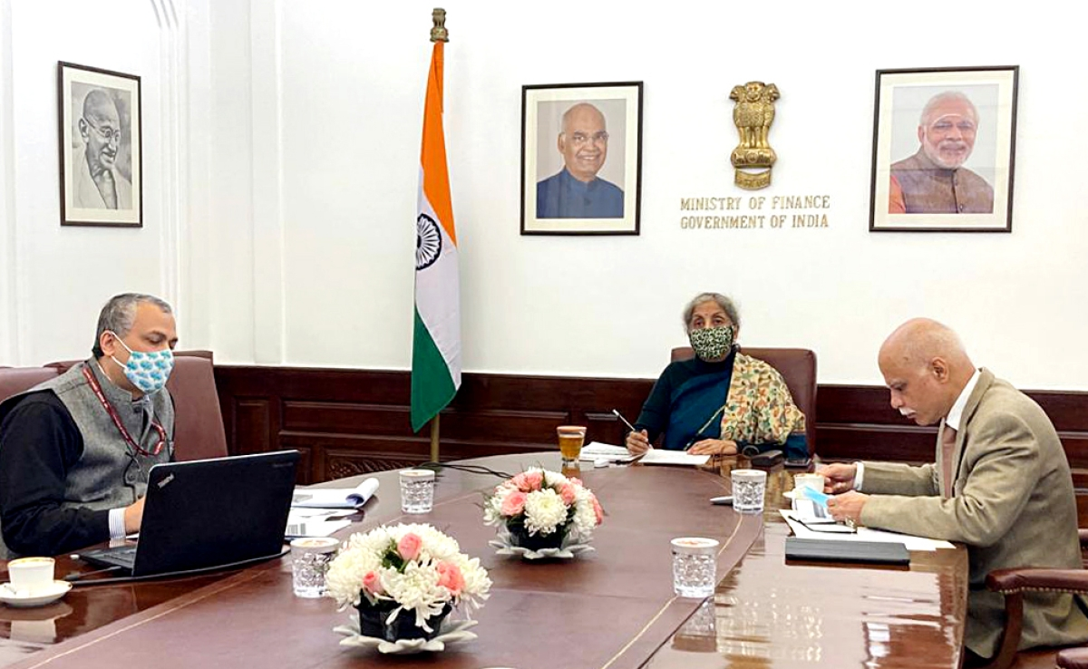 Union Finance Minister Nirmala Sitharaman holds pre-Budget meeting with Secretaries of the Department of Water Resources, River Development and Ganga Rejuvenation, and Ministry of Health and Family Welfare in New Delhi on Wednesday.