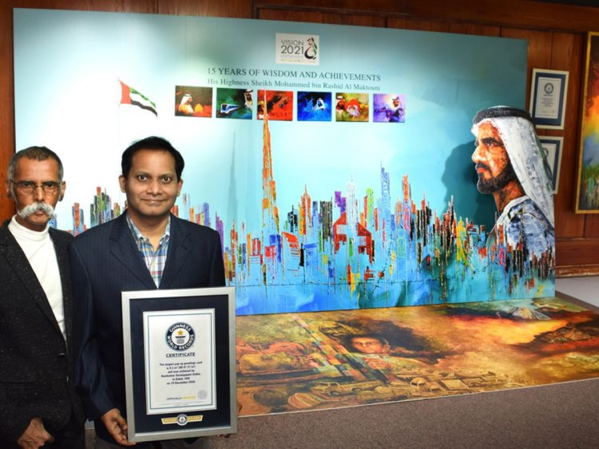Dubai-based Indian man sets record for world's largest greeting card