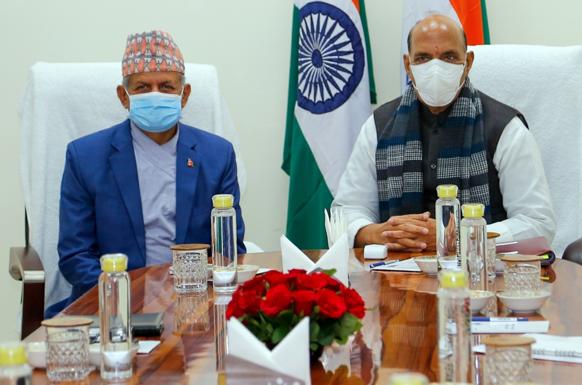 Foreign Minister of Nepal Pradeep Gyawali and Defence Minister Rajnath Singh during a meeting, in New Delhi on Saturday.