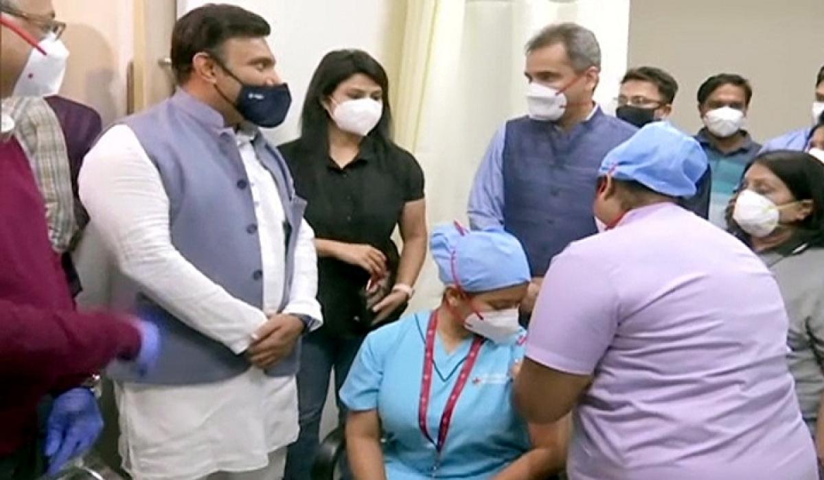 Karnataka Health Minister K Sudhakar visits Manipal Hospital to inspect the Covid-19 vaccination drive on day 2 in  Bengaluru on Sunday.