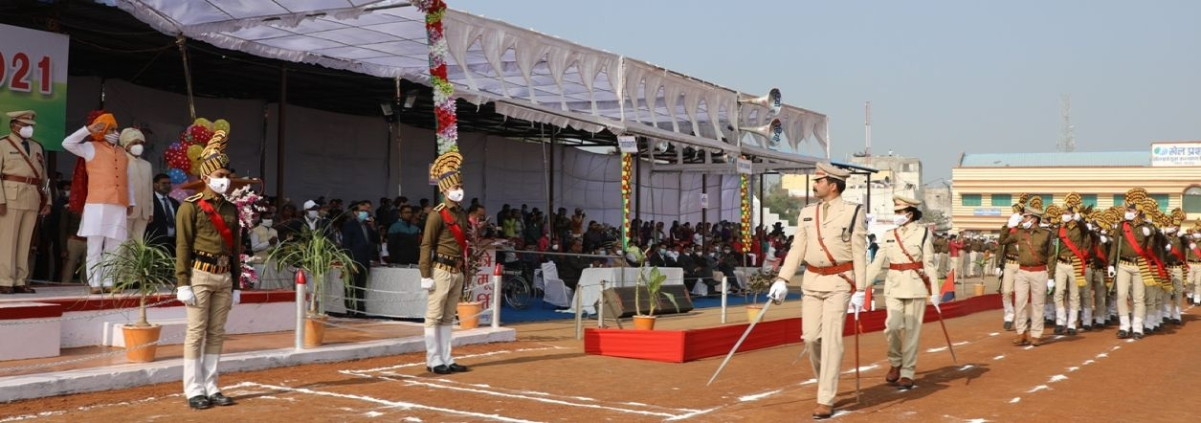 State higher education minister Inder Singh Parmar taking parade salute during Republic Day function at Shajapur on Tuesday