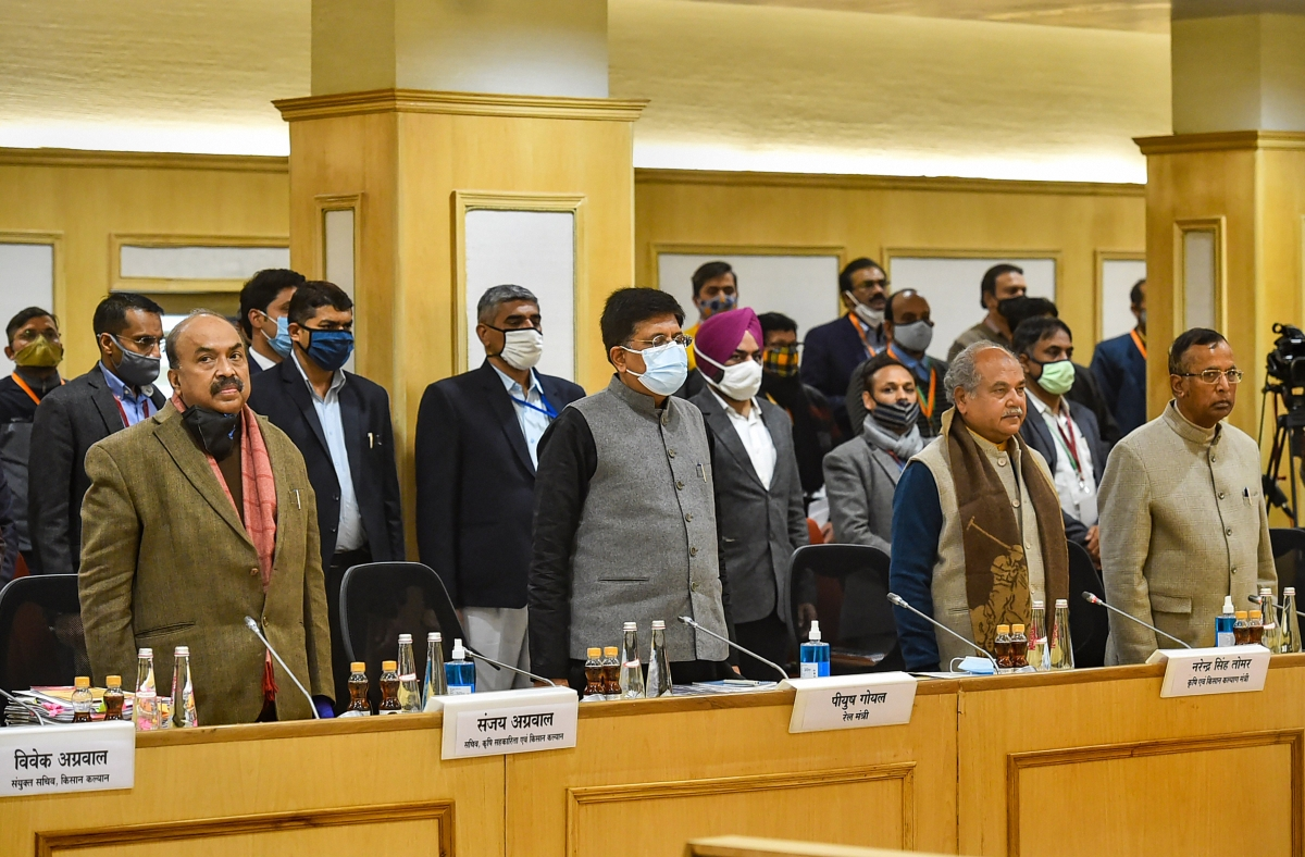Union Minister for Agriculture & Farmers Welfare Narendra Singh Tomar, Railway Minister Piyush Goyal and Minister of State Som Prakash during a meeting with farmers representatives over the new farm laws, at Vigyan Bhawan in New Delhi, Monday, Jan. 4, 2021.