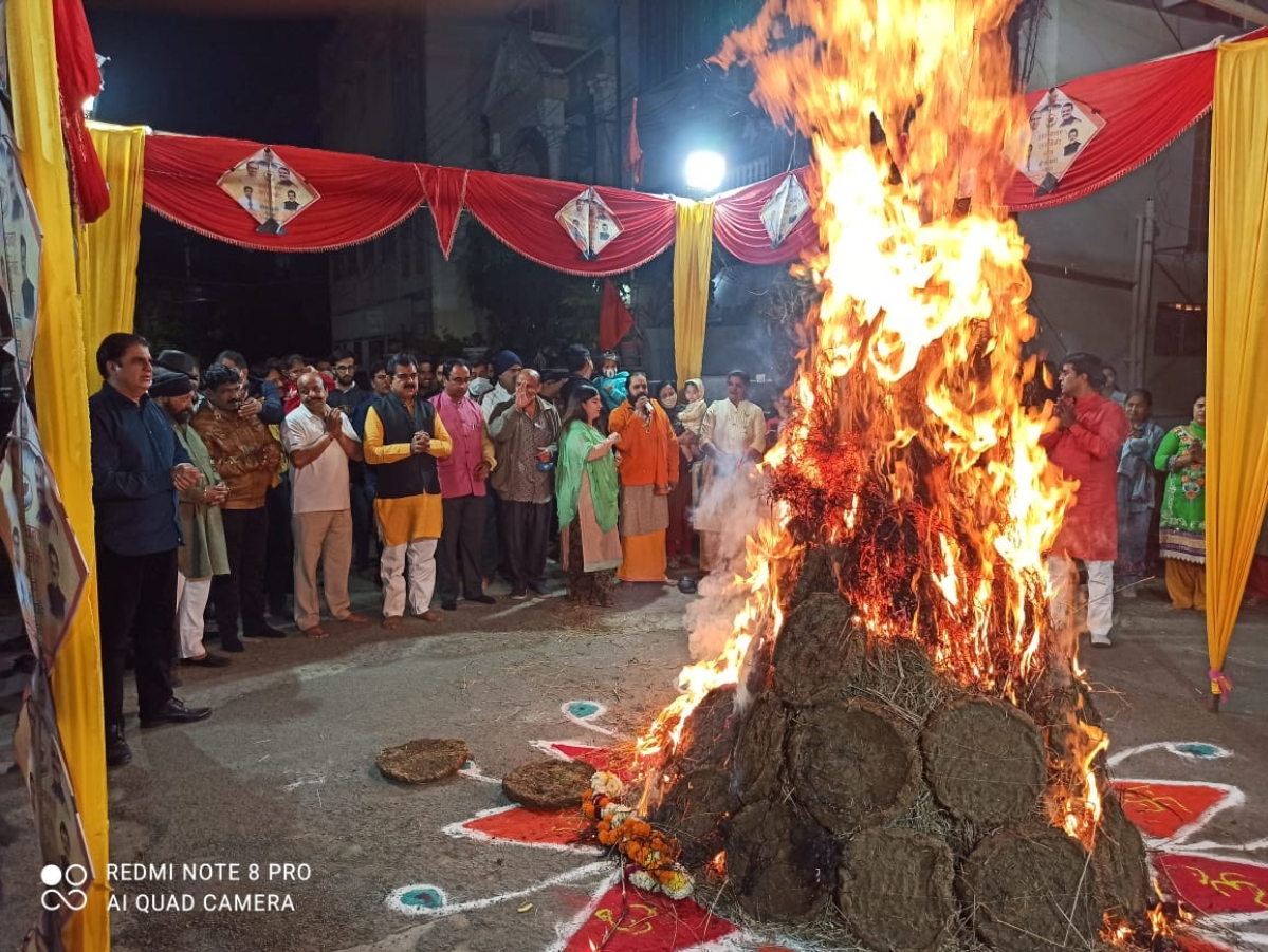 Members of the Sindhi community celebrate Lal Loi festival in Indore on Wednesday.