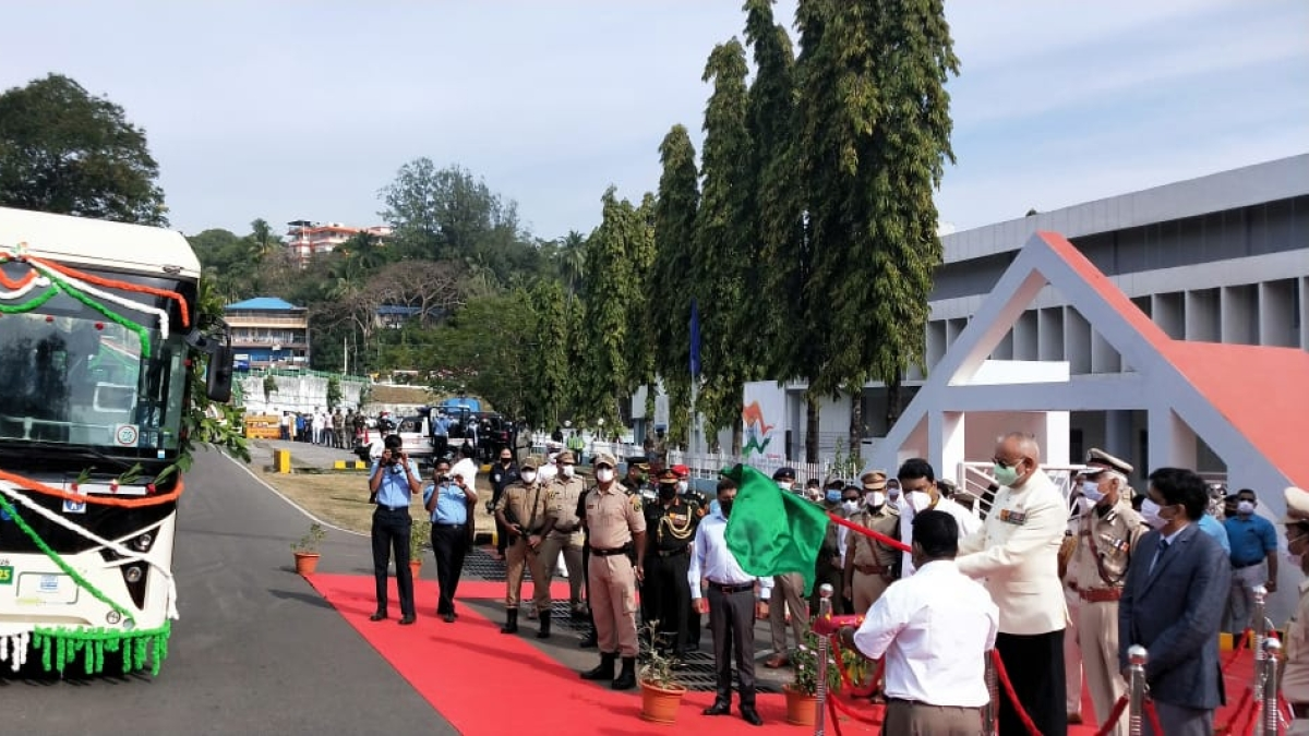 Andaman Lt Governor flags off electric buses provided by NTPC Vidyut Vyapar Nigam Limited