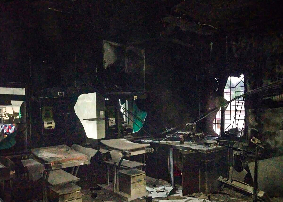 The charred remains of the newborn care unit of Bhandara district hospital in which 10 babies died on saturday