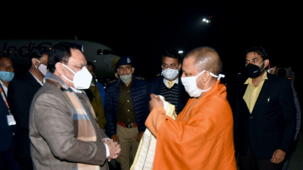 Uttar Pradesh CM Yogi Adityanath welcomes BJP National President J P Nadda at Lucknow airport