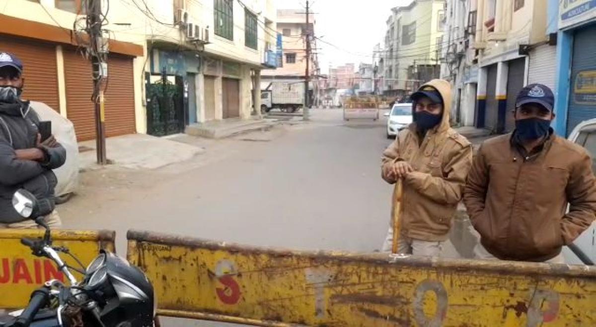 A view of curfew in Gautam Nagar in Bhopal on Sunday morning