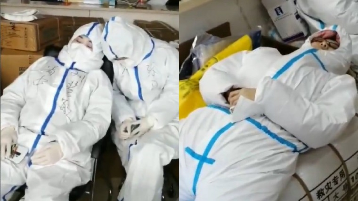 Watch: Exhausted medical workers fall asleep on parcels and chairs in China's Shijiazhuang after fresh COVID-19 outbreak