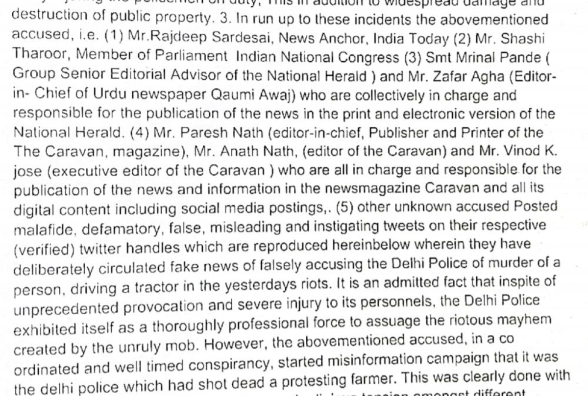 After UP, now FIR against Shashi Tharoor, others in MP for 'defamatory' tweets accusing Delhi Police of farmer's murder