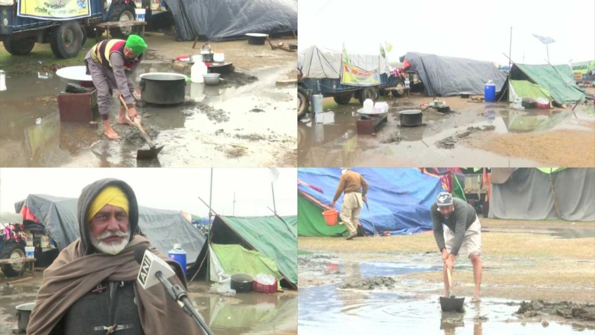 Rains, waterlogging cause inconvenience to farmers protesting at Delhi borders