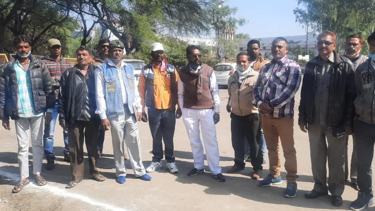 Sanitation workers stage dharna