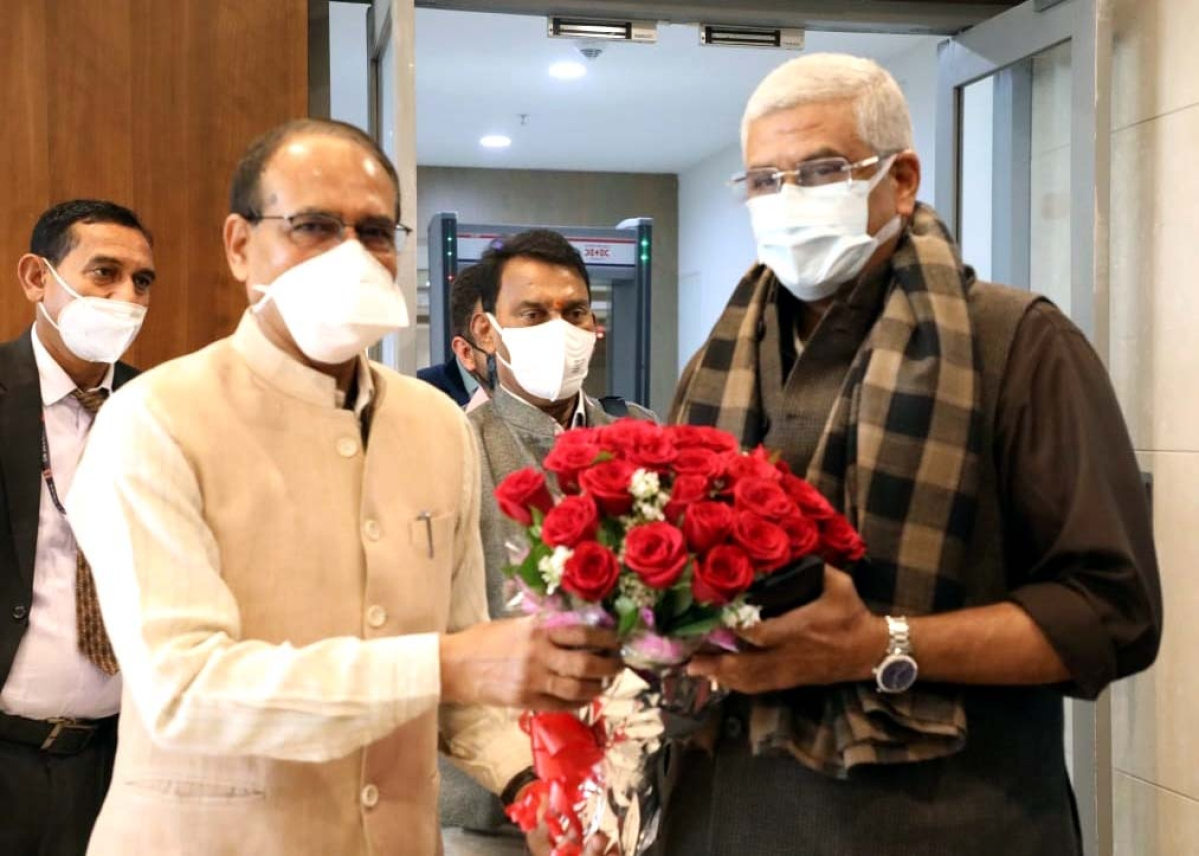 Union Cabinet minister in ministry of jal shakti Gajendra Shekhawat in Bhopal on Saturday.