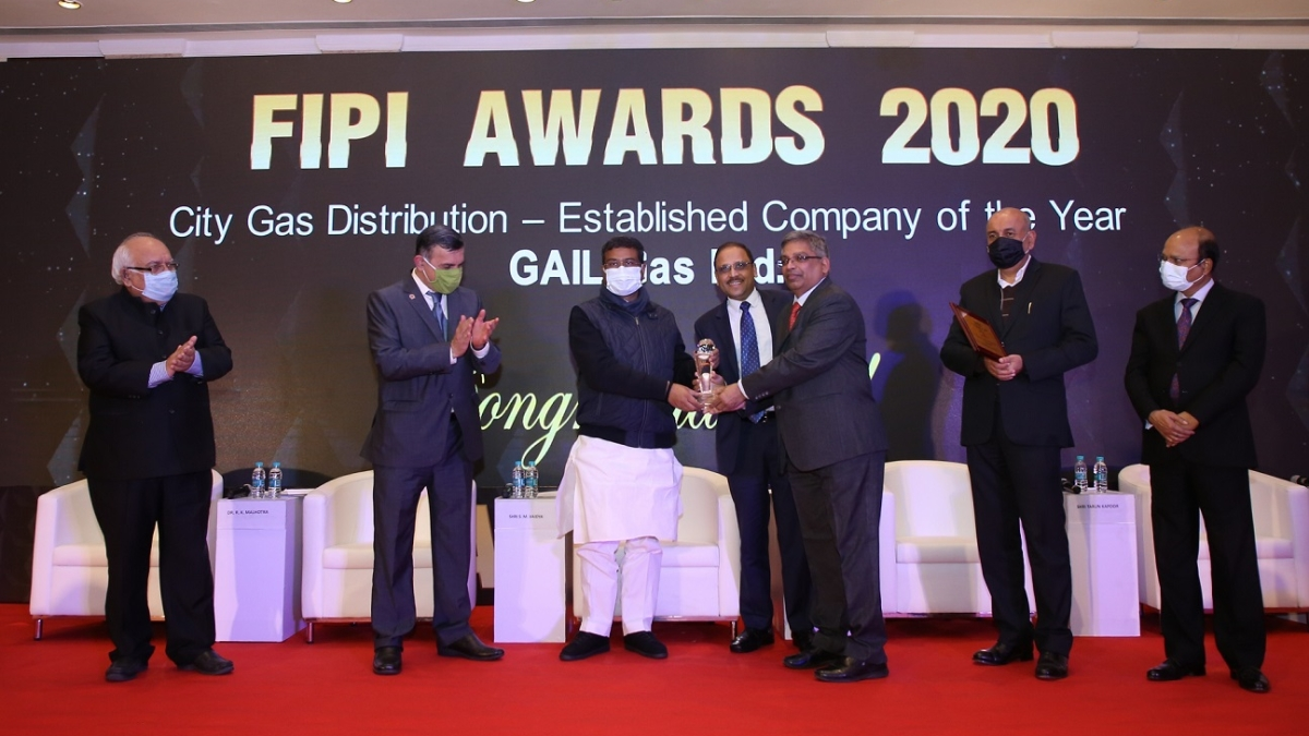GAIL Gas bags 'City Gas Distribution- Established Company of the Year' award by FIPI