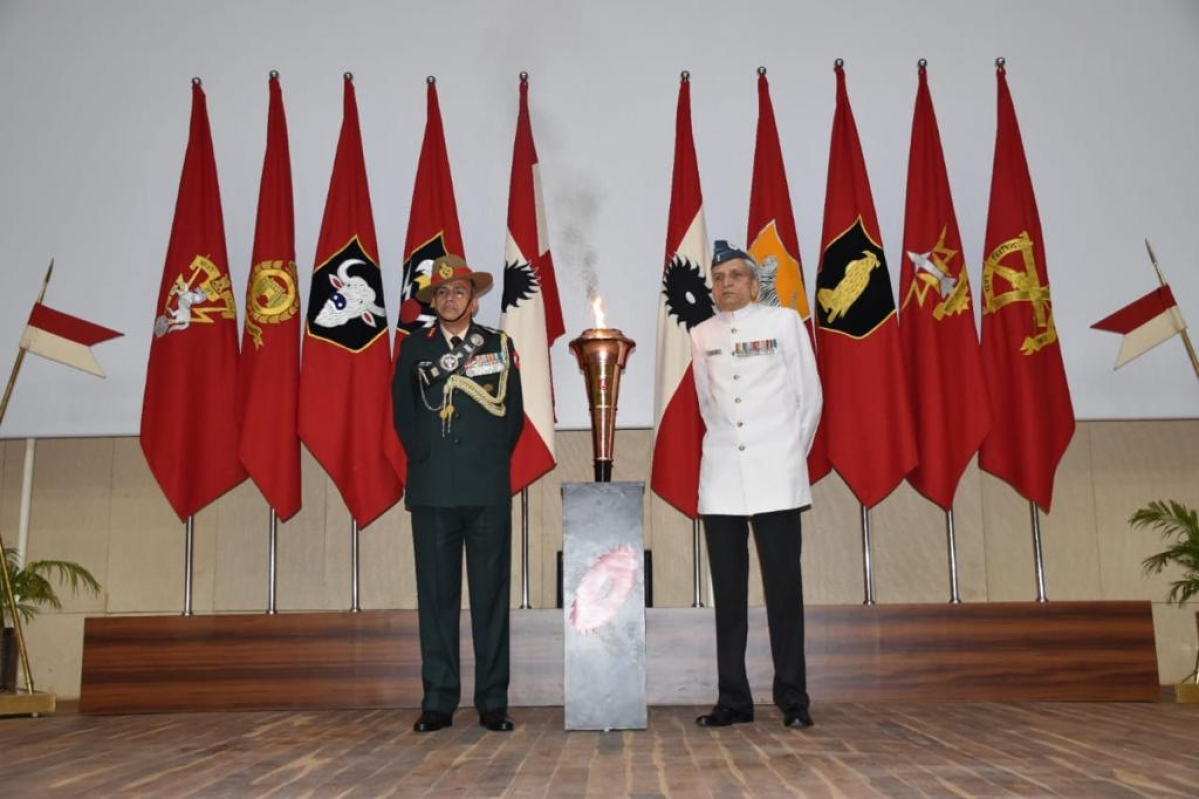 The golden victory flame was received by Air Vice Marshal Aditya Vikram Pethia and Lt Gen Atulya Solankey in Bhopal on Monday