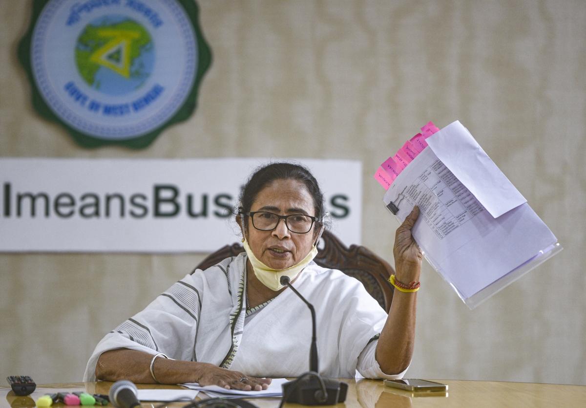 Kolkata: West Bengal Chief Minister Mamata Banerjee addresses a press conference, at Nabanna in Kolkata, Thursday, Jan. 21, 2021.