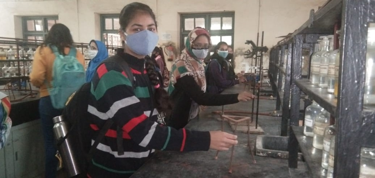 Students attend practical classes at Holkar College as college reopens on Friday