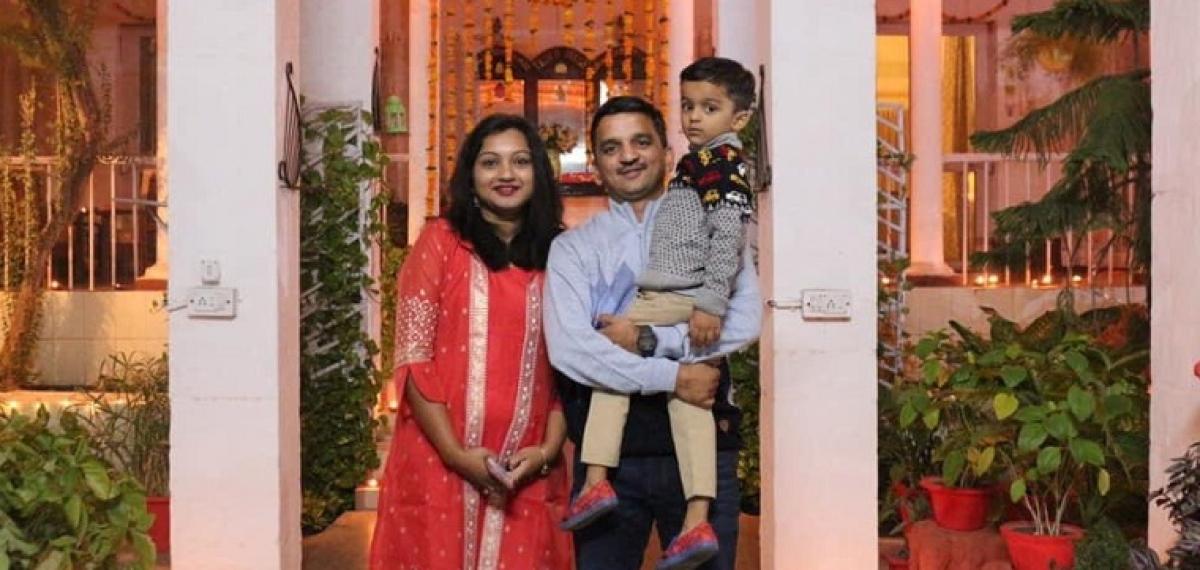 Prajakta limaye with her husband and son, Shlok
