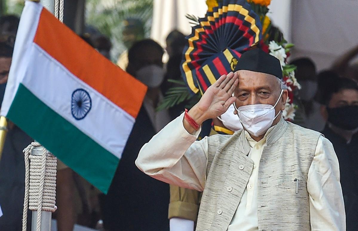 Mumbai: Maharashtra Governor Bhagat Singh Koshyari salutes after hoisting the National Flag on the occasion of 72nd Republic Day celebrations in Mumbai, Tuesday, Jan. 26, 2021