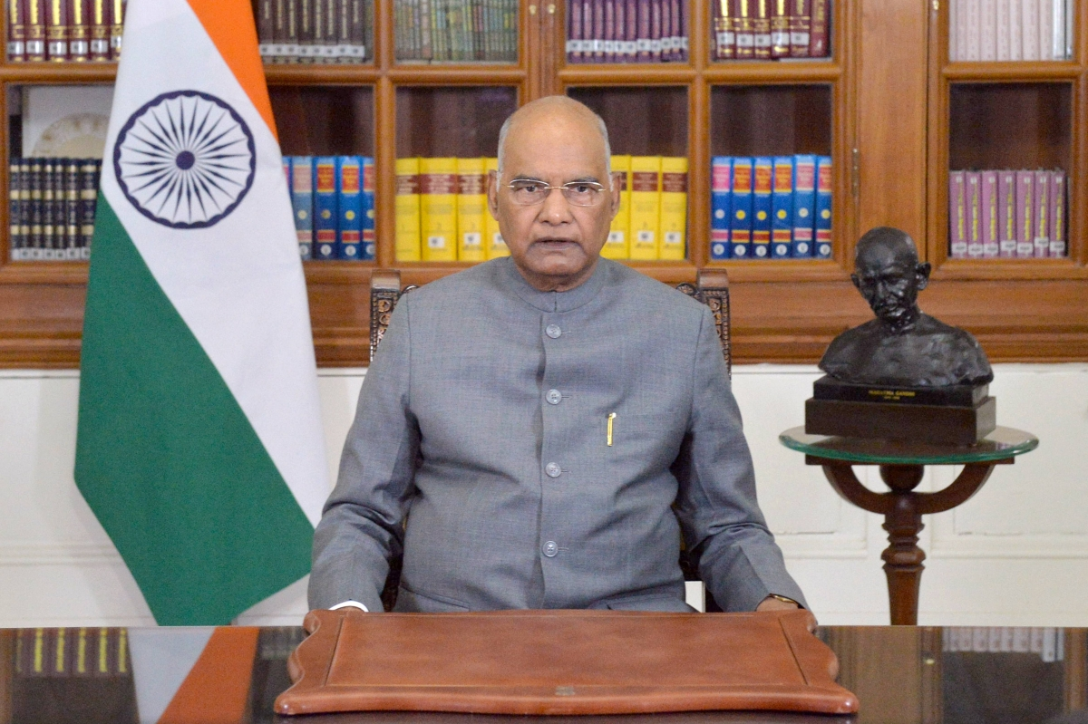 New Delhi: President Ram Nath Kovind addresses the nation on the eve of Republic Day 2021, in New Delhi, Monday, Jan. 25, 2021.