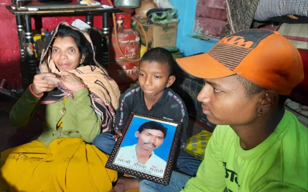 Covaxin volunteer Deepak Maravi's wife Jayanti with her children