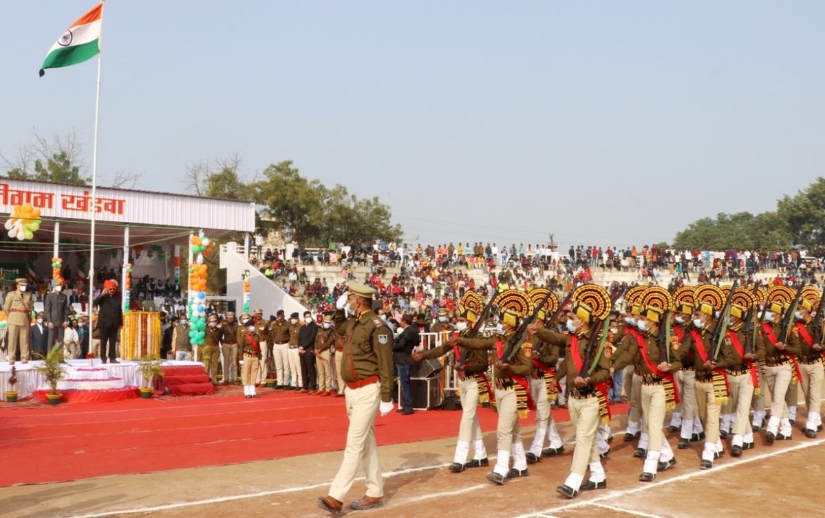 Forest Minister Dr Kunwar Vijay Shah takes Republic Day parade salute at Khandwa on Tuesday