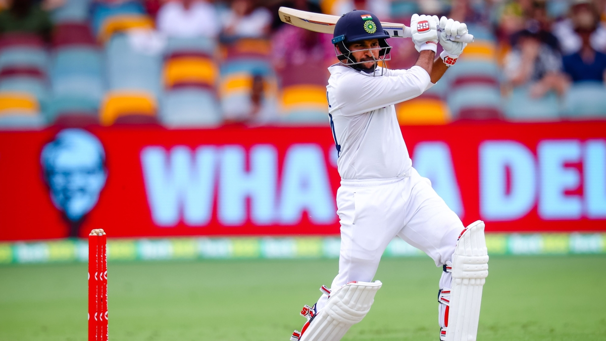 Shardul Thakur plays a shot during day three of the fourth cricket Test match between Australia and India at the Gabba in Brisbane