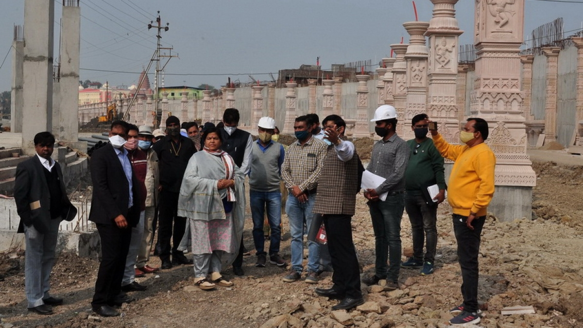 Tourism, cultural and religious endowments minister Usha Thakur inspects construction work of Mahakal corridor