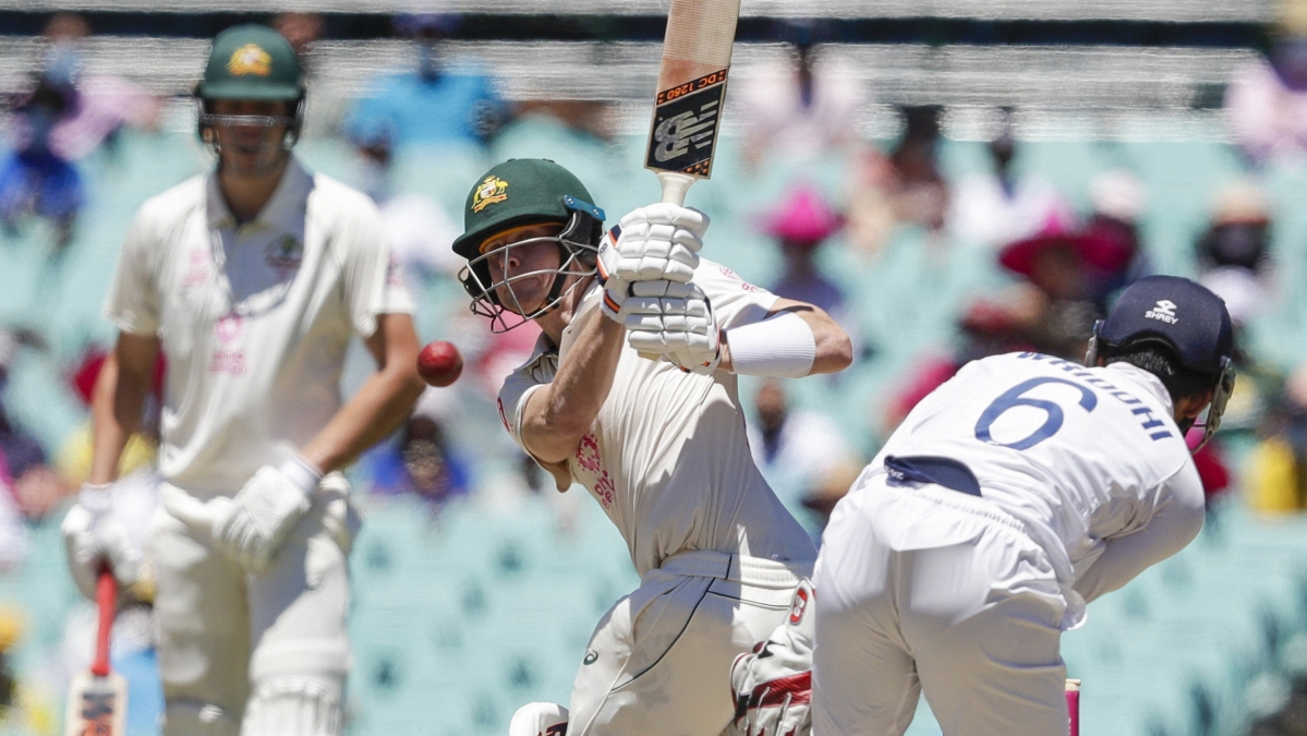 Steve Smith bats during play on day four of the third cricket test between India and Australia at the Sydney Cricket Ground, Sydney, Australia, Sunday, Jan. 10, 2021.