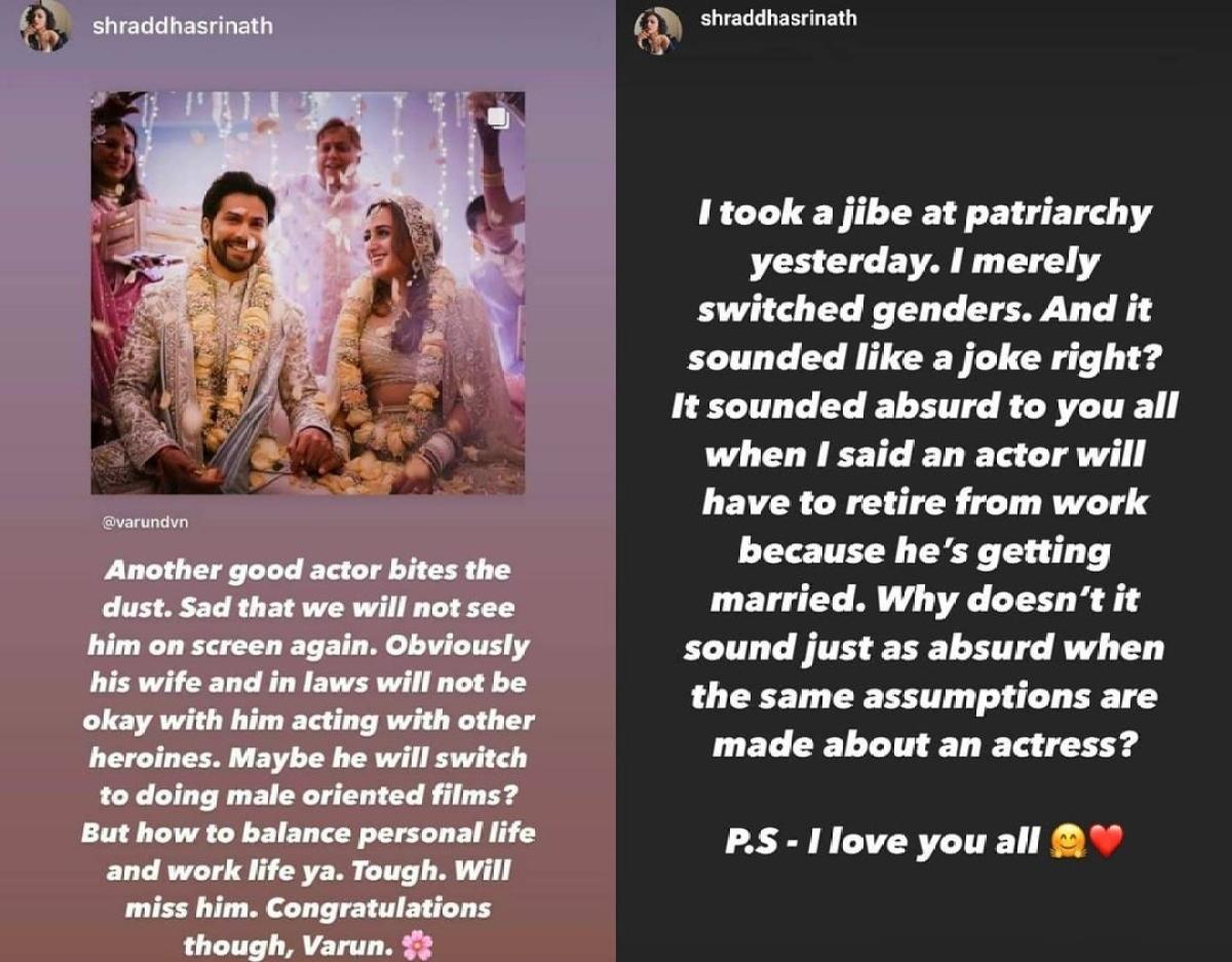'Maara' actor Shraddha Srinath takes a jibe at patriarchy while congratulating newlyweds Varun Dhawan-Natasha Dalal