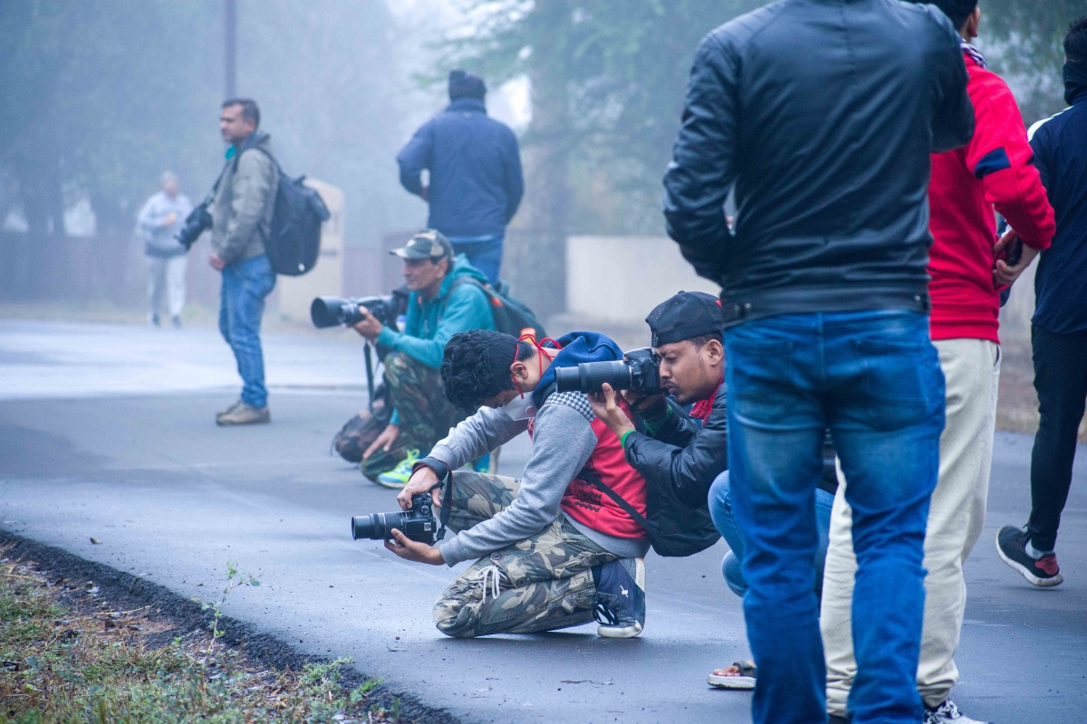 Budding photographers clicking pictures at Van Vihar