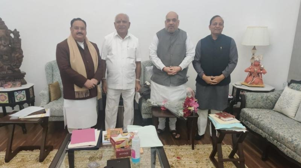 Karnataka Chief Minister BS Yediyurappa met Union Home Minister Amit Shah at the latter's residence in Delhi. BJP chief JP Nadda and party's incharge for Karnataka, Arun Singh were also present