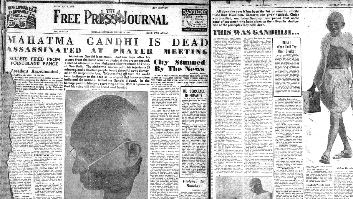 'Mahatma Gandhi is dead': When FPJ reported on assassination of Father of the Nation; read front page from 1948