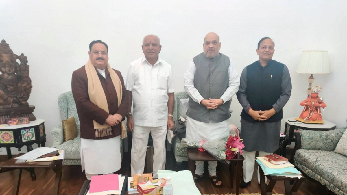 Union Home Minister Amit Shah along with BJP National President JP Nadda, Karnatak Chief Minister BS Yediyurappa, and BJP Karnataka in-charge Arun Singh during a meeting, in New Delhi