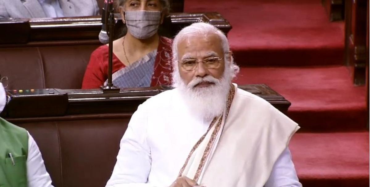 Prime Minister Narendra Modi speaking in Rajya Sabha on Monday