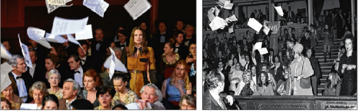 Scene from the film Misbehaviour (L) and the actual 1970 protest (R)