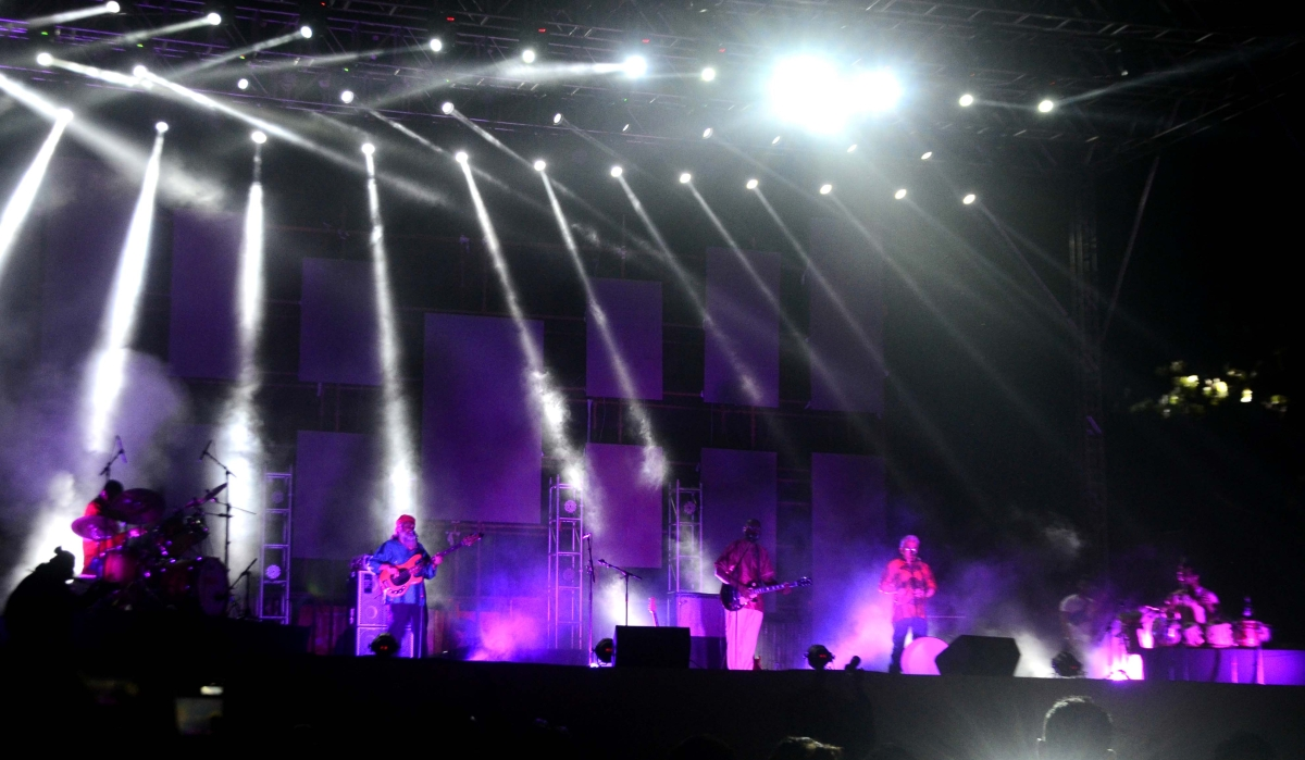 Indian Ocean music band performs on inaugural day of two-day GIFLIF Drive-in Music Fest at Drive-in Cinema on premises of Hotel Lake View Residency at Shyamla Hills in Bhopal on Saturday
