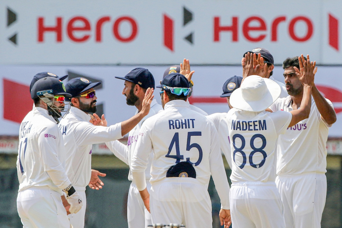 Chennai: Indian spinner Ravichandran Ashwin celebrates with his teammates the dismissal of England batsman Dominic Sibley during the 4th day of the first cricket test match between India and England, at MA Chidambaram Stadium, in Chennai, Monday, Feb. 8, 2021.