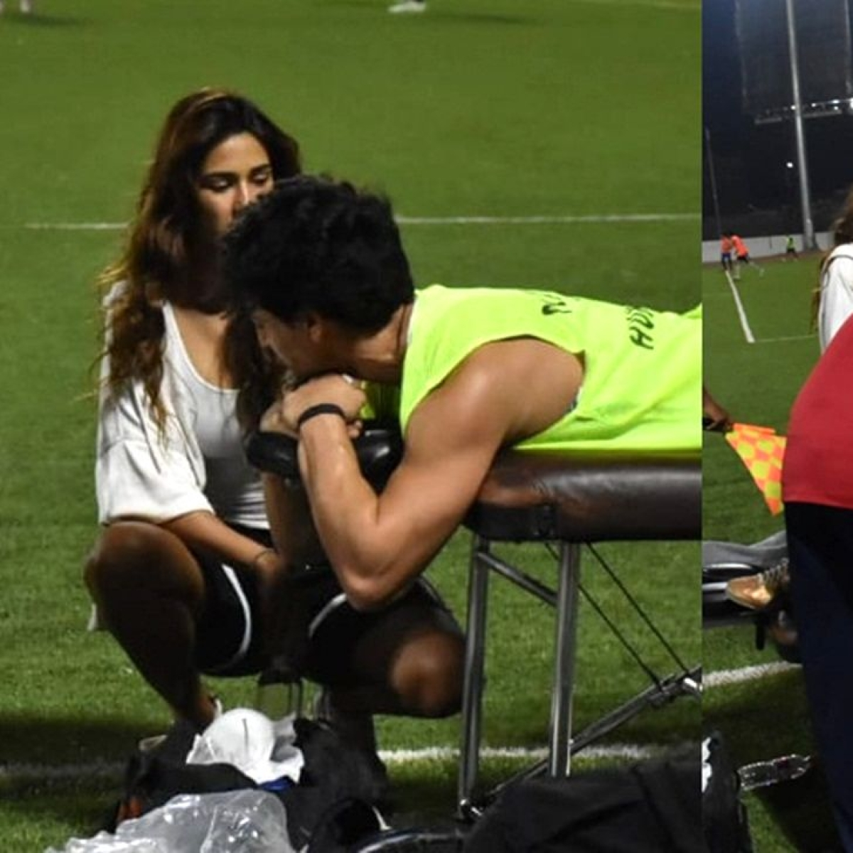 Disha Patani stands by an injured Tiger Shroff during a celebrity football match in Mumbai