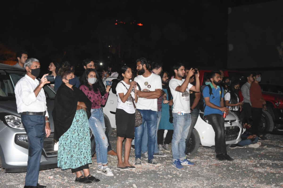 People watching performance in Bhopal on Sunday evening