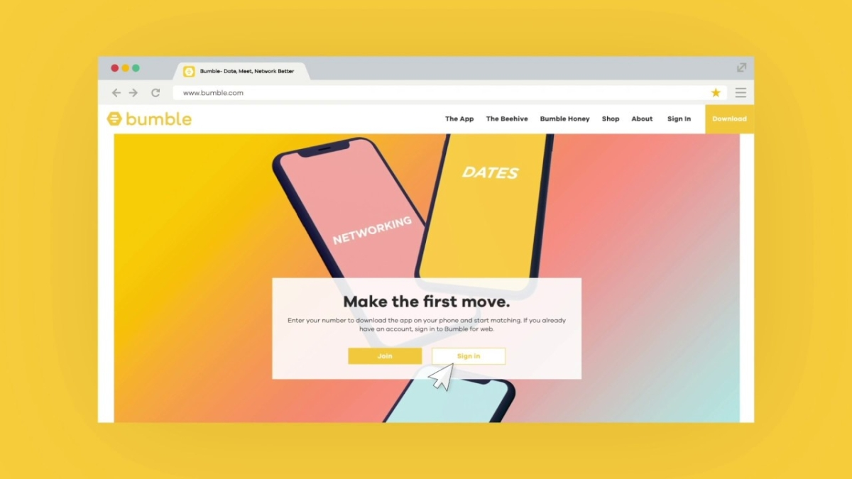 Bumble app has a web version too