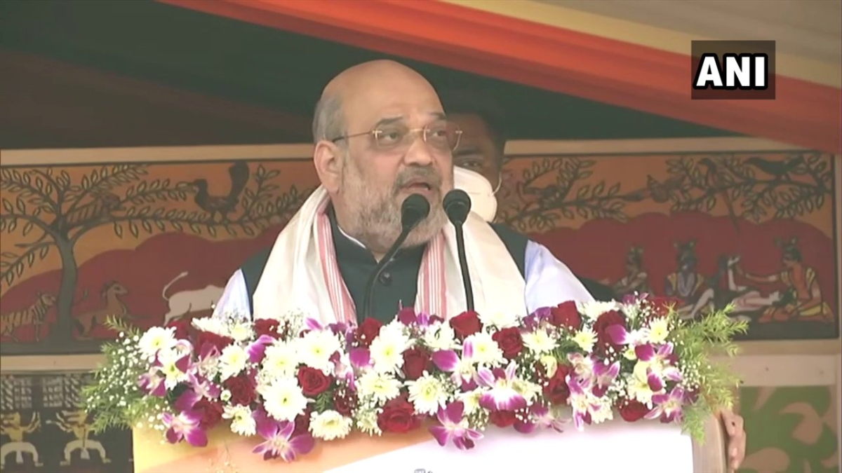 Amit Shah speaking at a rally in Assam's Nagaon